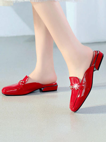 Milanoo Women Red Mules PU Leather Square Toe Slip-On Shoes