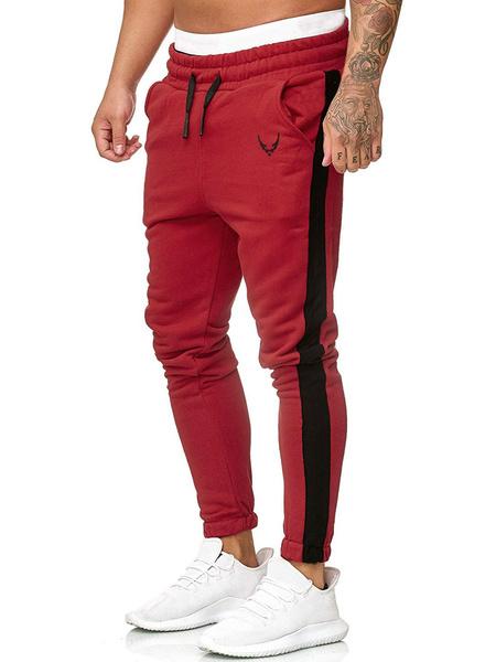 Milanoo Pants For Men Polyester Color Block Tapered Fit Hunter Green Pants Men\\s Pants