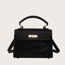 Bolso cartera minimalista con solapa con cerradura girante