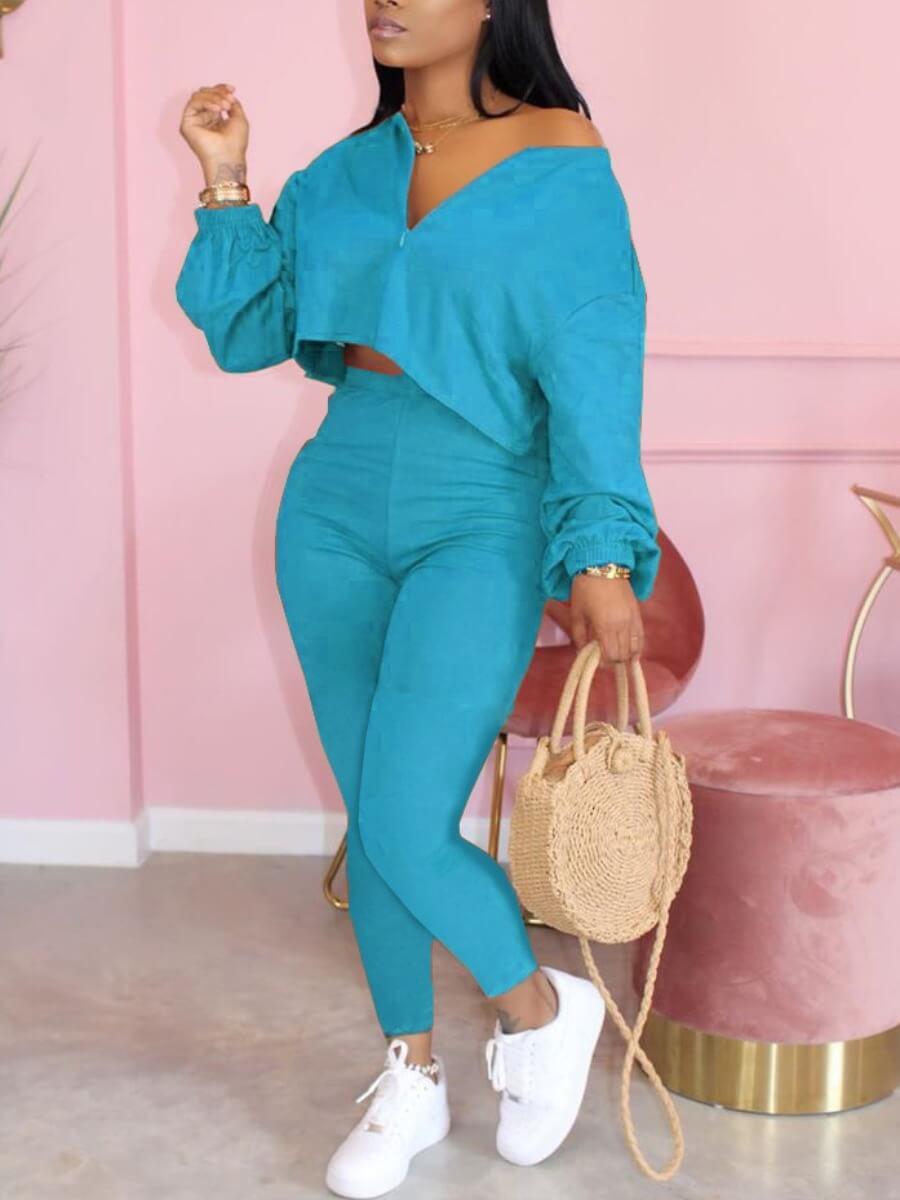 LW Lovely Casual Zipper Design Blue Two Piece Pants Set