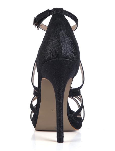 Milanoo Pastel Blue Glitter Dress Sandals Wedding Shoes Platform Criss Cross High Heel Sandals