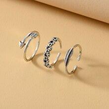 3 piezas anillo con flor