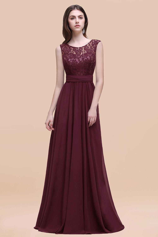 BMbridal Vintage Lace Scoop Sleeveless Dark Blue Bridesmaid Dress with V-Back