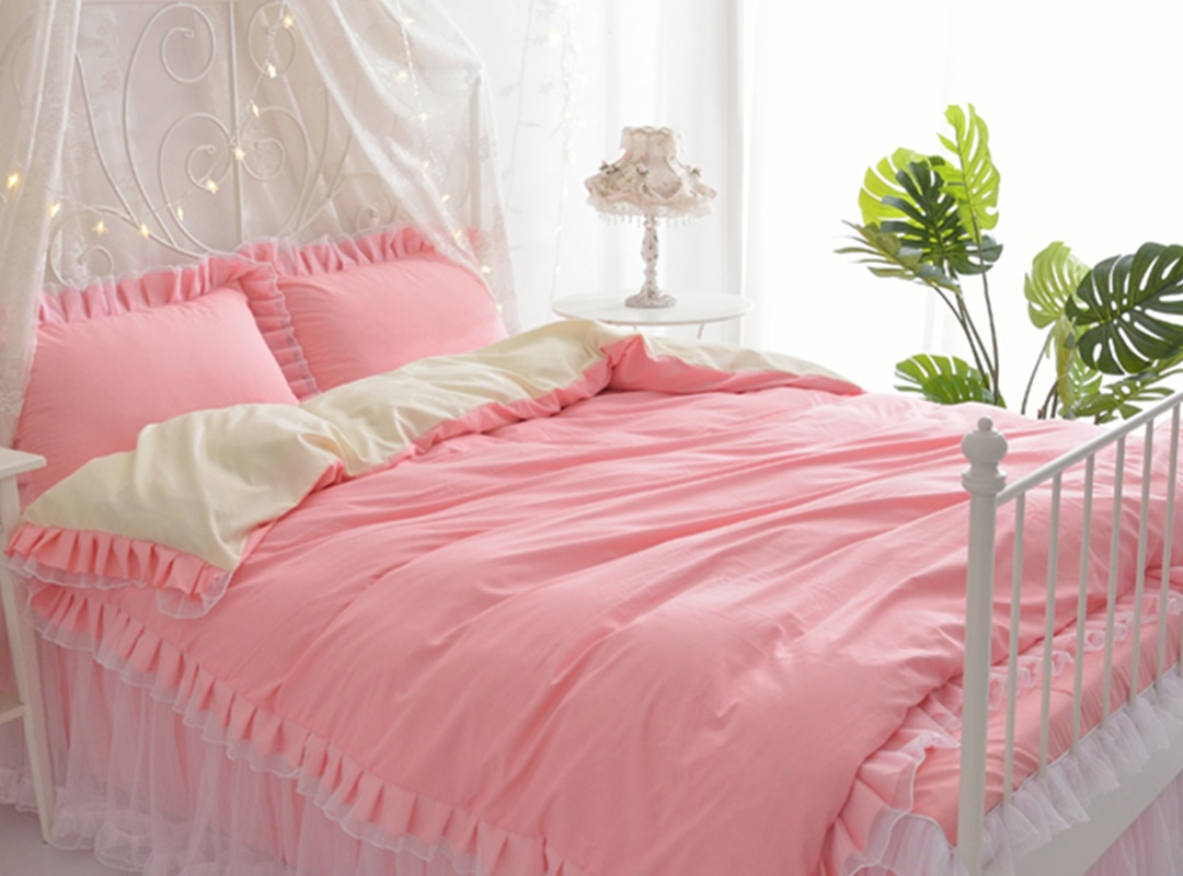 Two Pink For Choice Princess Style Lace Girl 4-Piece Bedding Sets/Duvet Cover