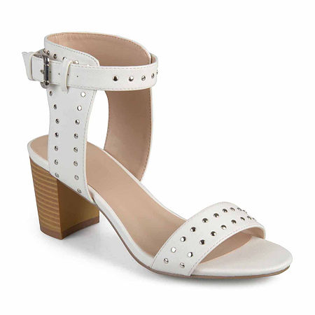 Journee Collection Womens Mabel Pumps Stacked Heel, 8 Medium, White