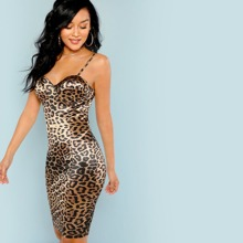 Leopard Print Bustier Cami Bodycon Dress
