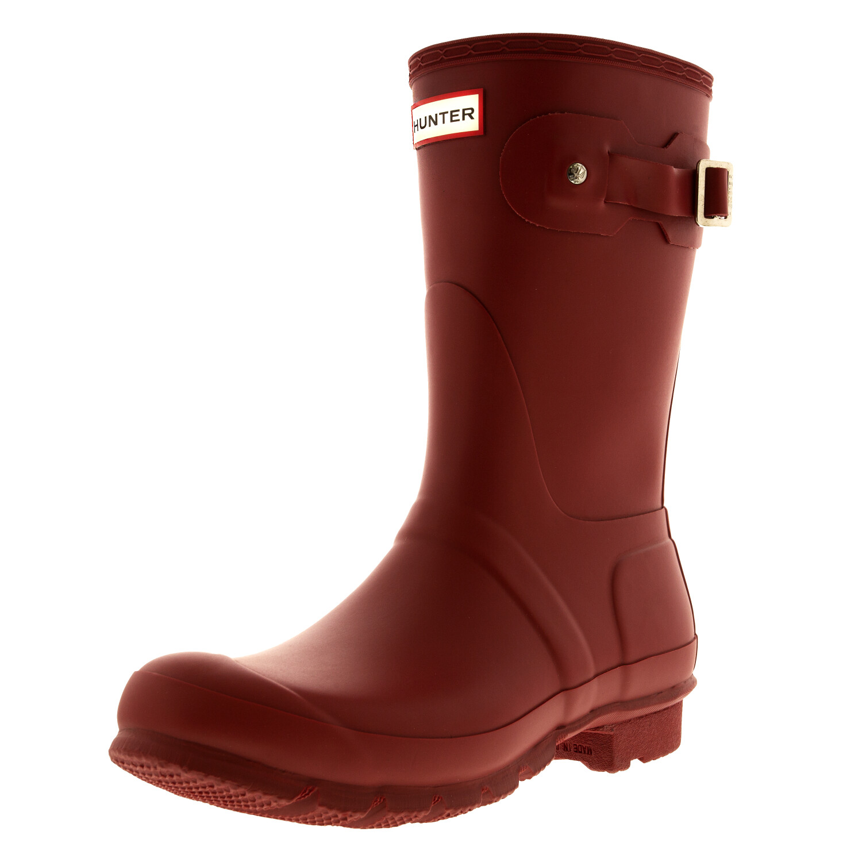 Hunter Original Short Rubber Rain Boot, Natural Rubber, Sherpa Lining, Non Slip Tread - 9M - Matte Military Red