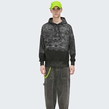 Men Reflective Slogan & Tie Dye Graphic Drawstring Hoodie