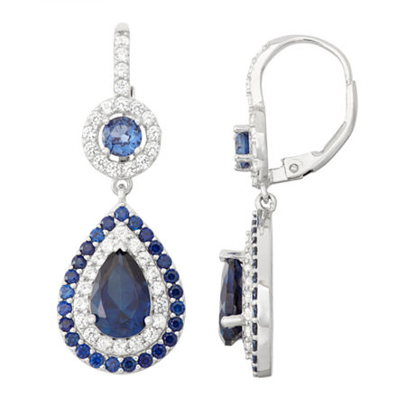 Lab-Created Sapphire & White Sapphire Sterling Silver Leverback Earrings, One Size , No Color Family