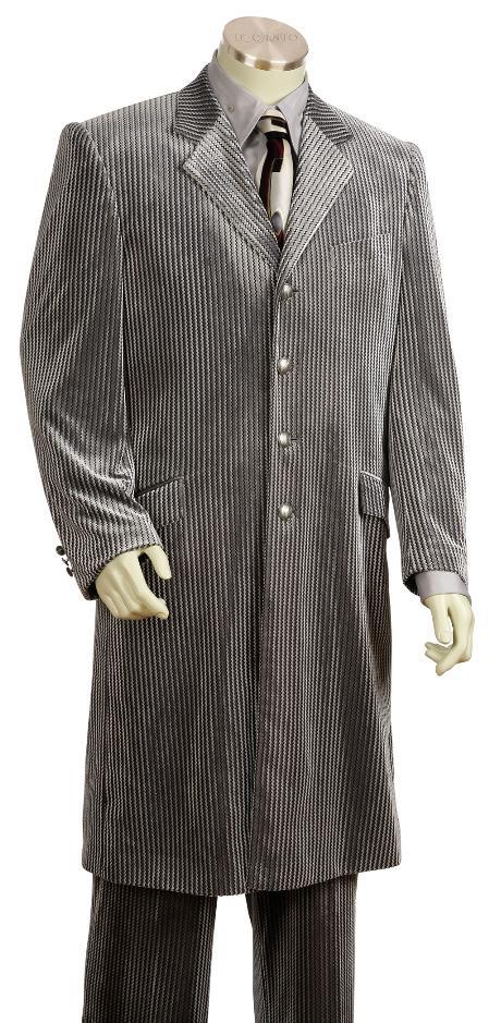 4 Button Silver Velvet Suit 45 Inch Long Jacket Mens