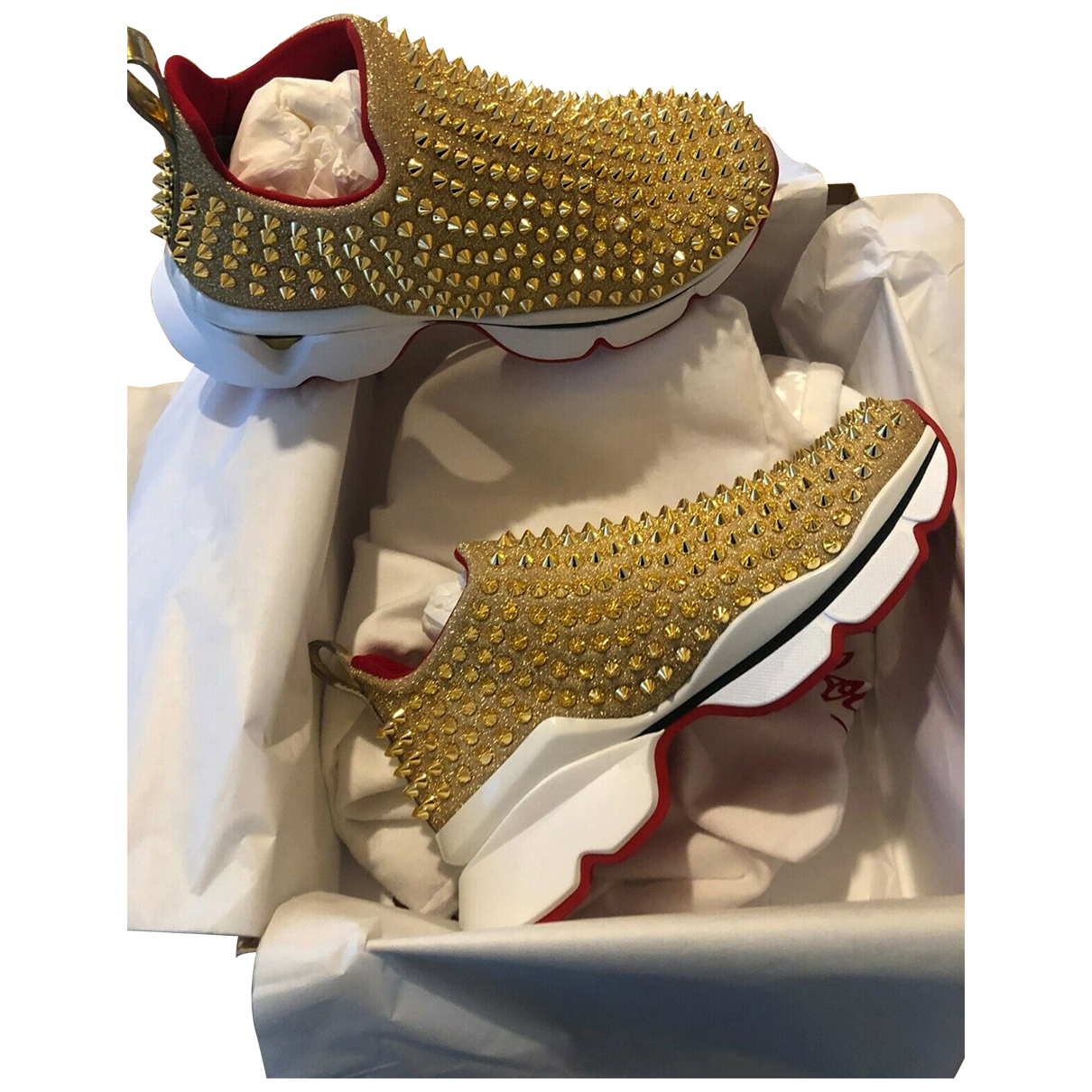Christian Louboutin Red Runner Donna Glitter Sunset Sneakers in  Gold Mit Pailletten