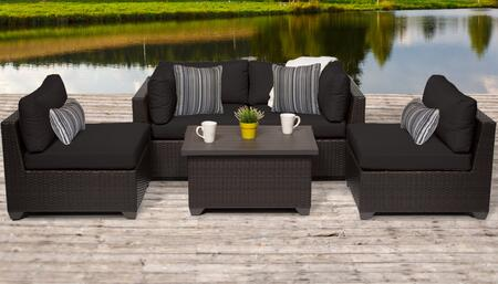 Belle Collection BELLE-05c-BLACK 5-Piece Patio Set 05c with 2 Corner Chair   2 Armless Chair   1 Coffee Table - Wheat and Black