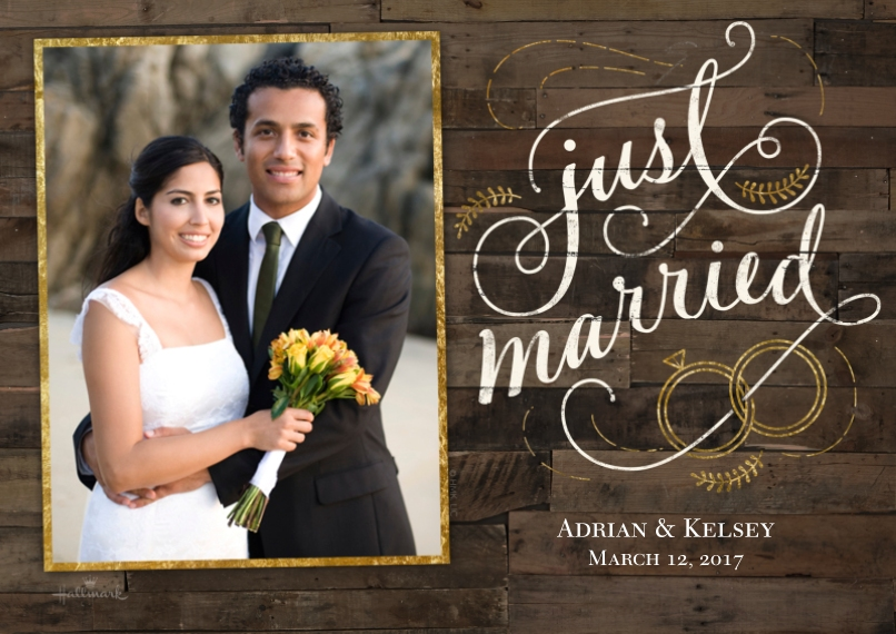 Just Married 5x7 Cards, Premium Cardstock 120lb with Rounded Corners, Card & Stationery -Rustic Wood Announcement