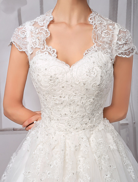Milanoo Wedding Dresses Ball Gown Lace Bridal Dress Beading Cap Sleeve Ivory Wedding Gown With Train