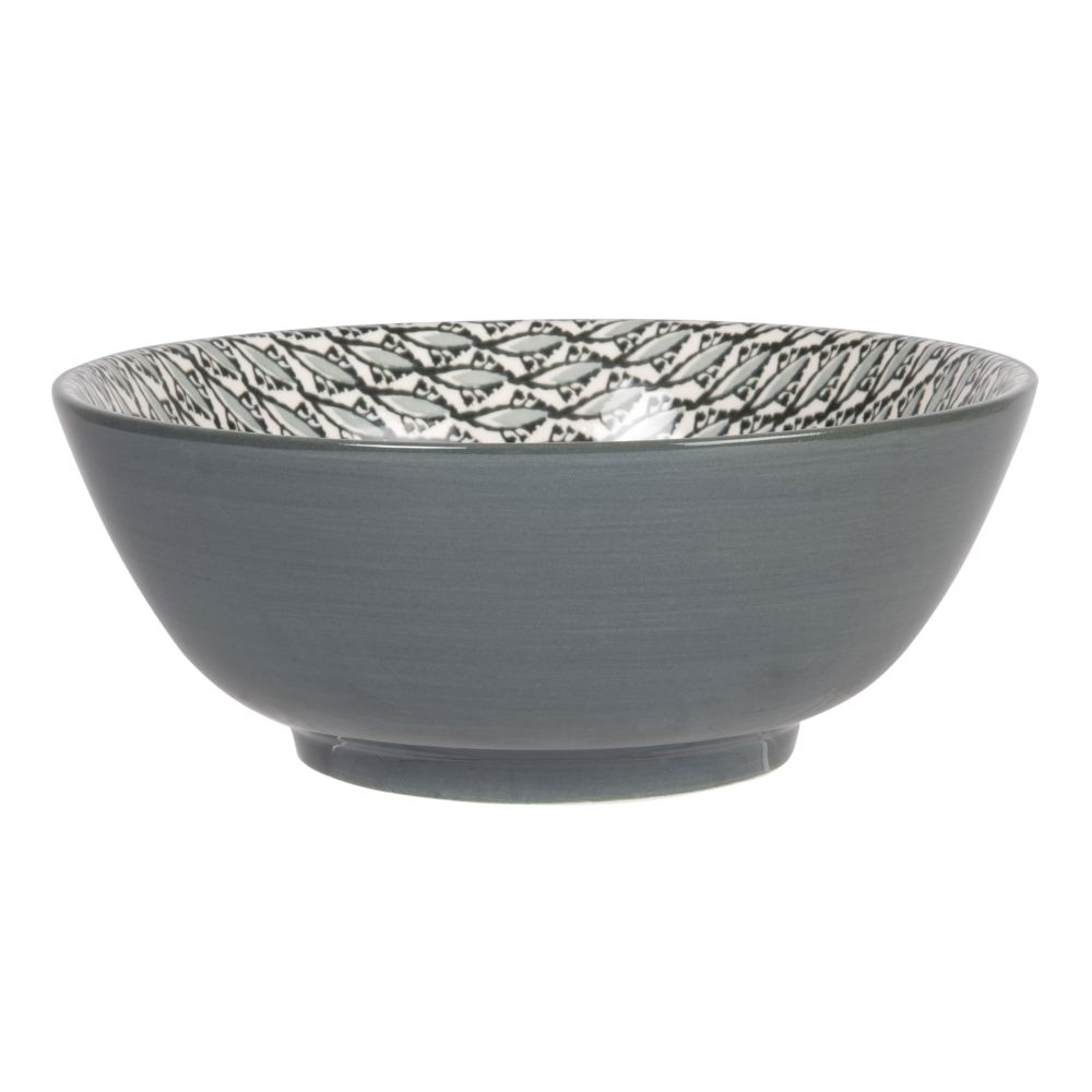 Schale aus Fayence, weiss und grau mit Grafikmustern