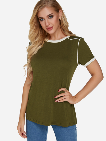 Yoins Green Crew Neck Short Sleeves Plain T-shirt