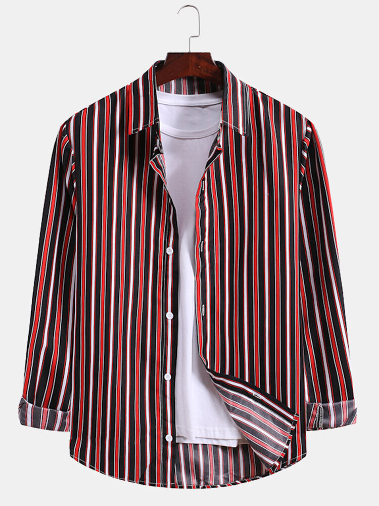 Mens Colored Vertical Stripe Lapel Relaxed Fit Long Sleeve Shirts