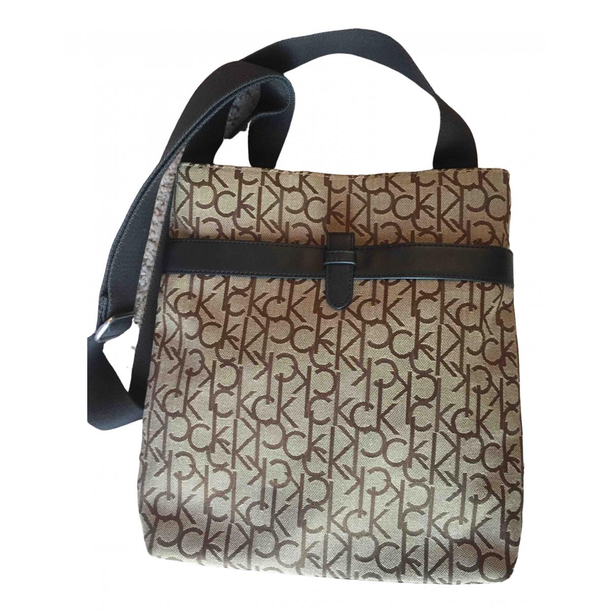 Calvin Klein \N Brown Cloth Small bag, wallet & cases for Men \N
