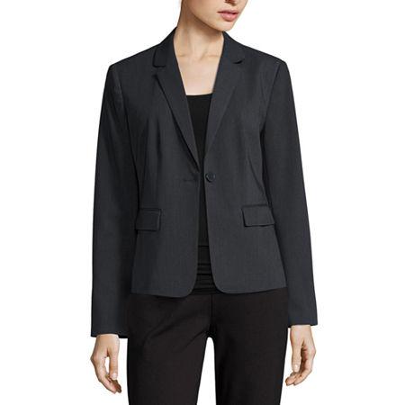 Liz Claiborne Long-Sleeve Suit Blazer - Petite, 2 Petite , Gray