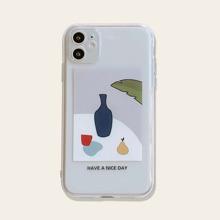1 Stueck Transparente iPhone Huelle mit Buchstaben Grafik