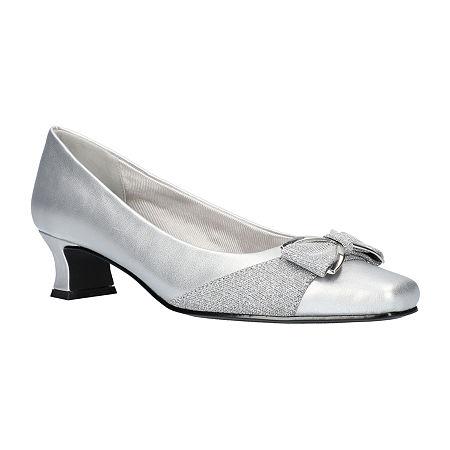 Easy Street Womens Rejoice Pumps Spike Heel, 6 1/2 Wide, Silver