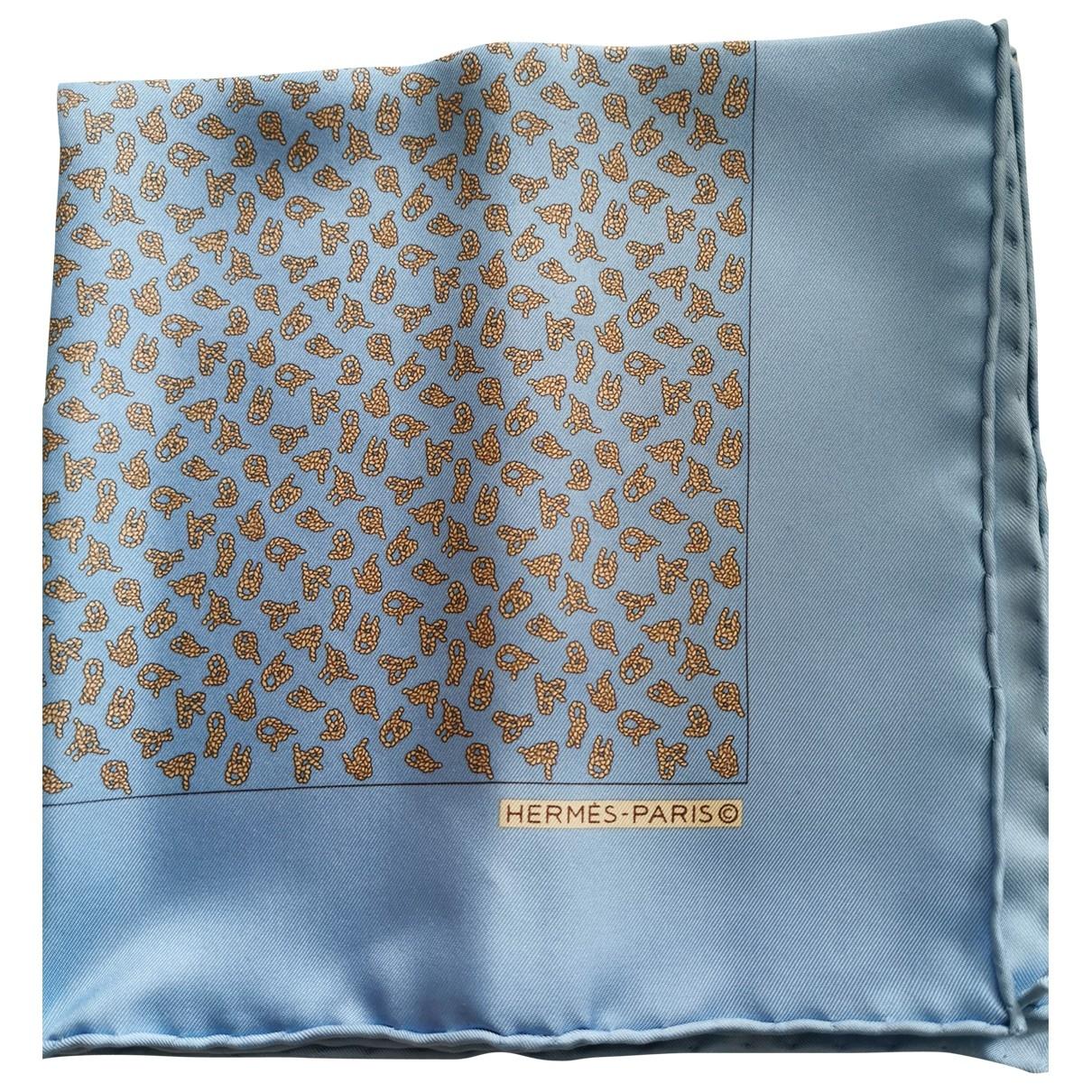 Hermes - Cheches.Echarpes Pochette pour homme en soie - bleu