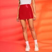 Faux Patent Leather Bodycon Mini Skirt