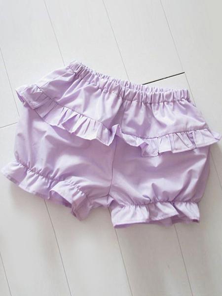 Milanoo Luz azul Lolita Bloomers volantes algodon Lolita cortos para mujeres
