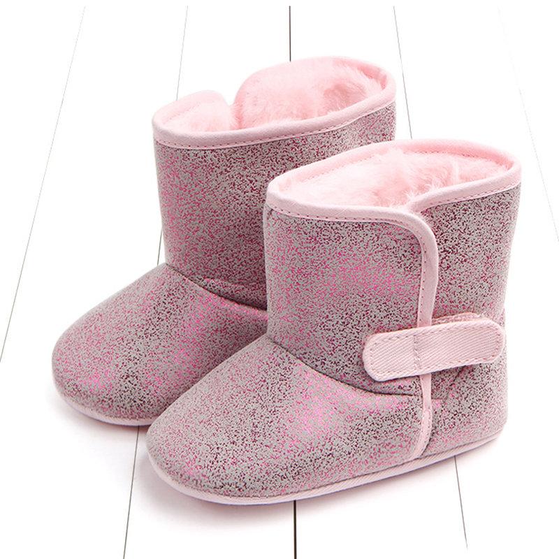 Shinning PU Upper Unisex Baby Infant Kids Warm Fleece Boots For 0-18 Months