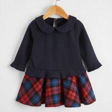 Baby Girl Peter Pan Collar Tartan Hem Dress