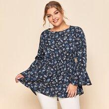 Bluse mit Blumen Muster, Schosschenaermeln und Rueschenbesatz