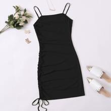 Solid Drawstring Detail Rib-knit Bodycon Dress