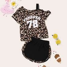 Toddler Girls One Shoulder Letter & Leopard Print Tee With Track Shorts