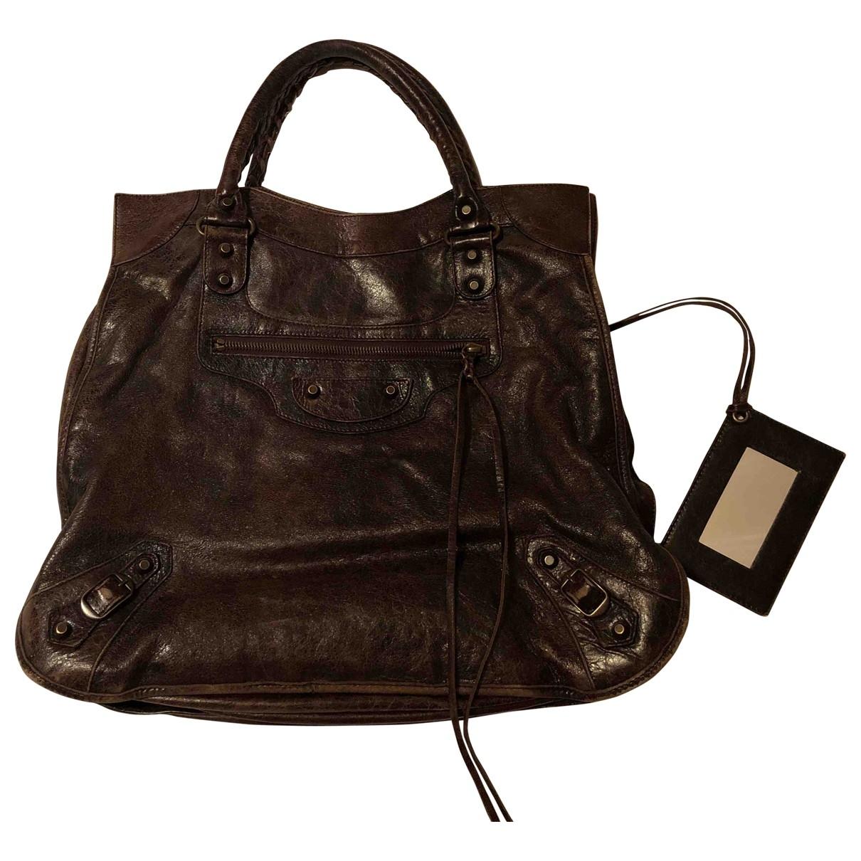 Balenciaga Velo Handtasche in  Braun Leder
