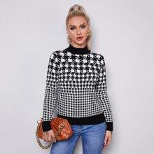 Pullover mit Hahnentritt Muster und Stehkragen