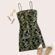 Plus Zipper Back Dragon Jacquard Slip Dress