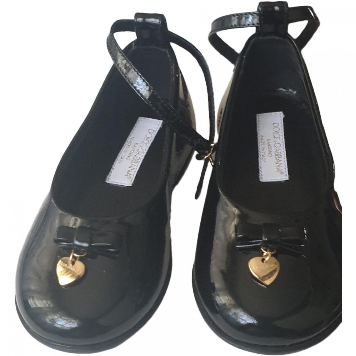 Dolce & Gabbana - Ballerines   pour enfant en cuir verni - noir