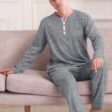 Men Space Dye Button Tee With Pants PJ Set