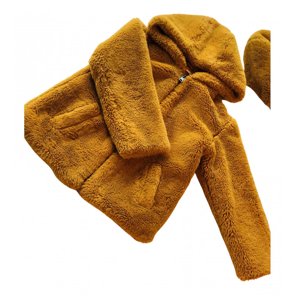 Mango \N Jacke, Maentel in  Gelb Synthetikpelz
