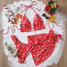 3 piezas Bañador bikini triangulo con estampado de navidad con falda de playa