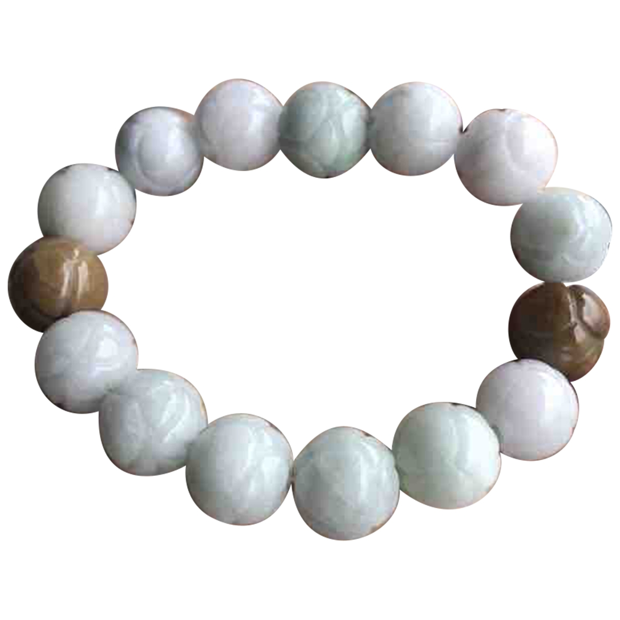 Non Signe / Unsigned \N Armband in  Weiss Jade