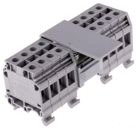 Entrelec Distribution Block, 2 Way, 10-70 inputmm², 200A, 800 V, Grey