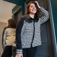 Plus Button Through Contrast Houndstooth Tweed Jacket