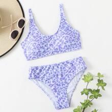 Bikini Badeanzug mit Leopard Muster
