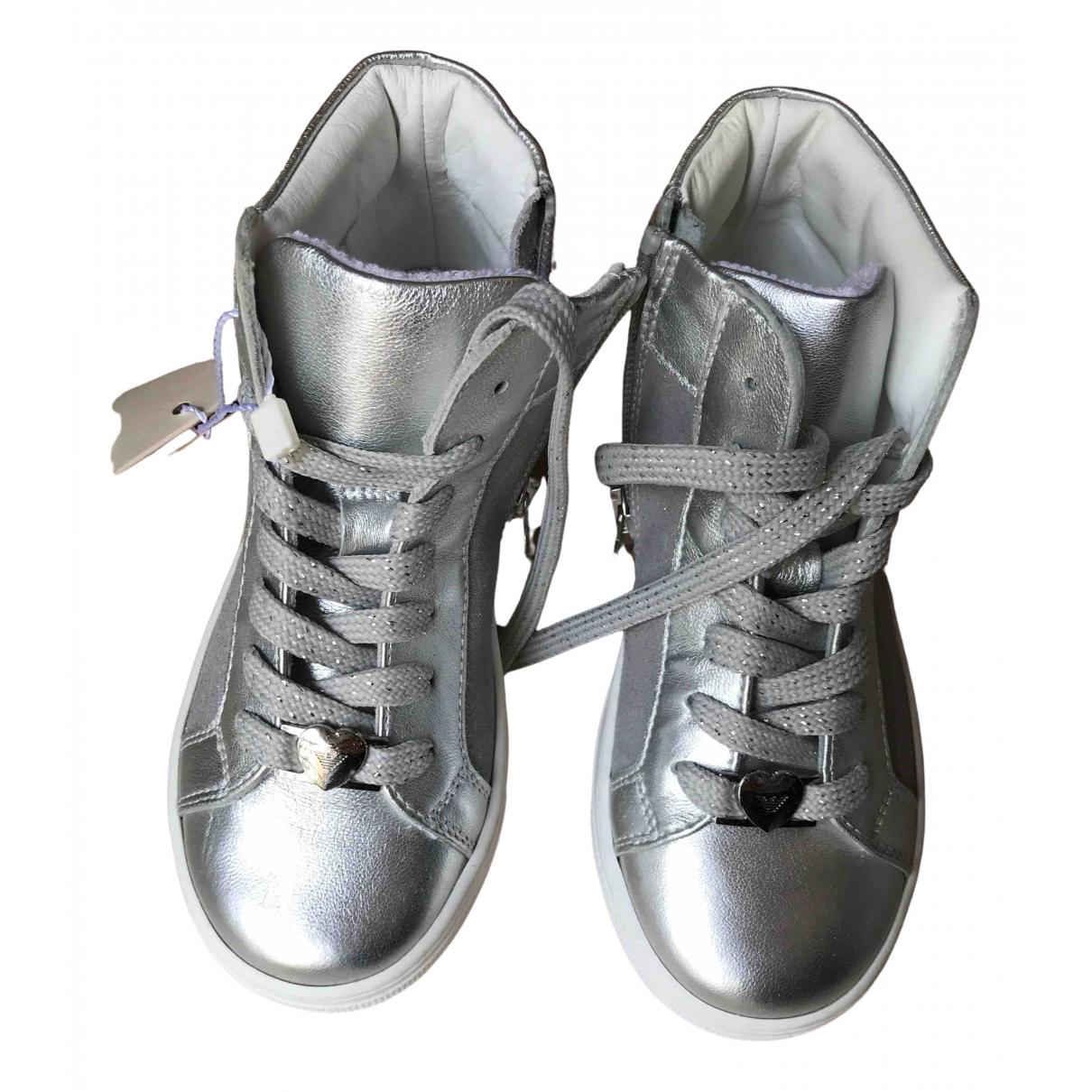 Armani Baby N Silver Leather Trainers for Kids 29 FR