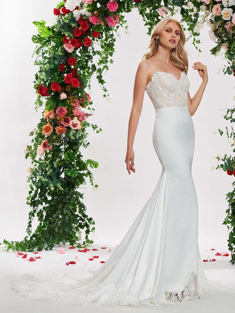 Ericdress Spaghetti Straps Mermaid Appliques Wedding Dress