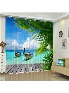 3D Boats and Green Conifers with Blue Sea Printed Beach Scenery Custom Living Room Curtain