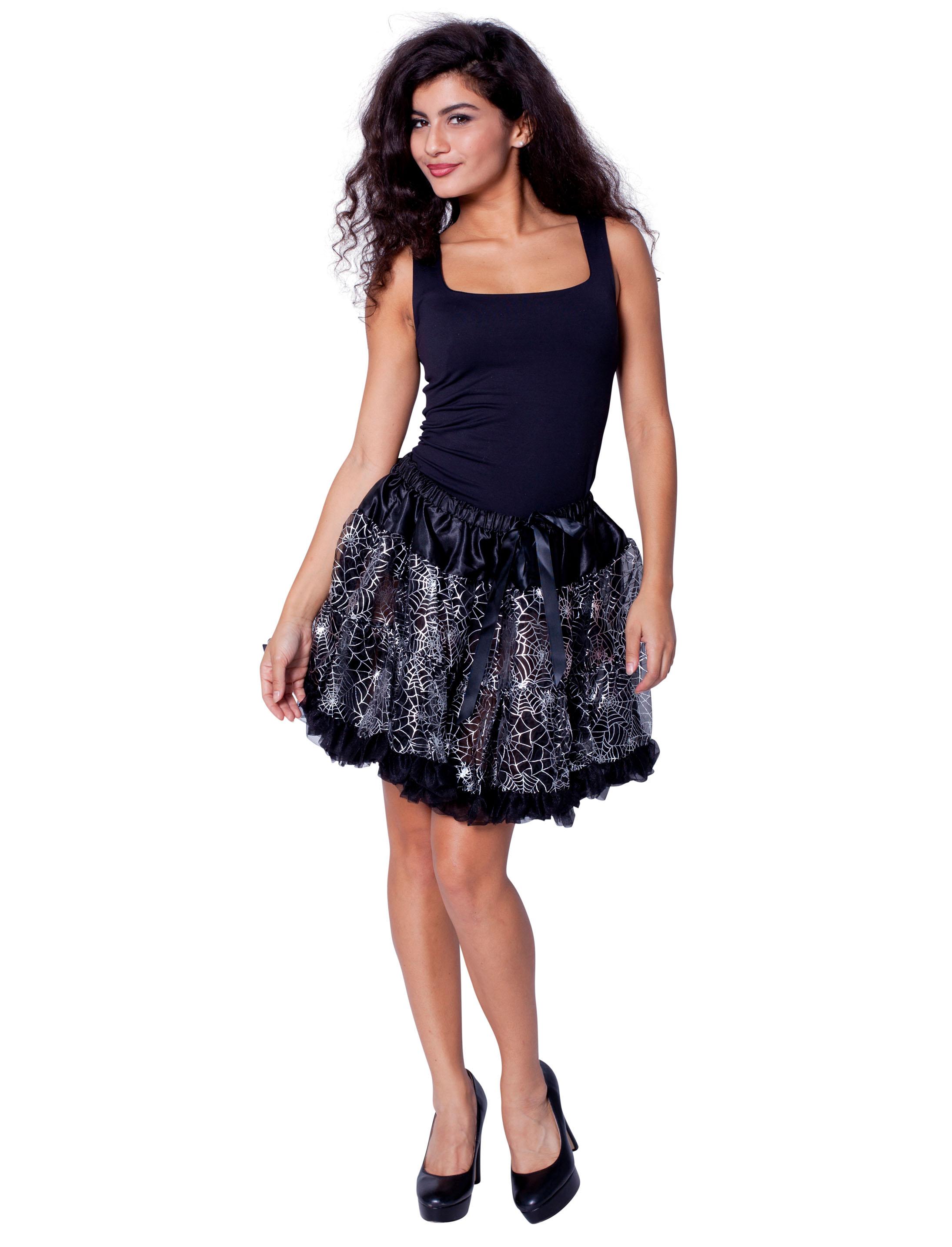 Petticoat mit Spinnweben schwarz/silber