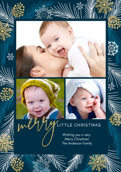 Baby's 1st Christmas 5x7 Cards, Premium Cardstock 120lb with Scalloped Corners, Card & Stationery -Bluest Little Christmas