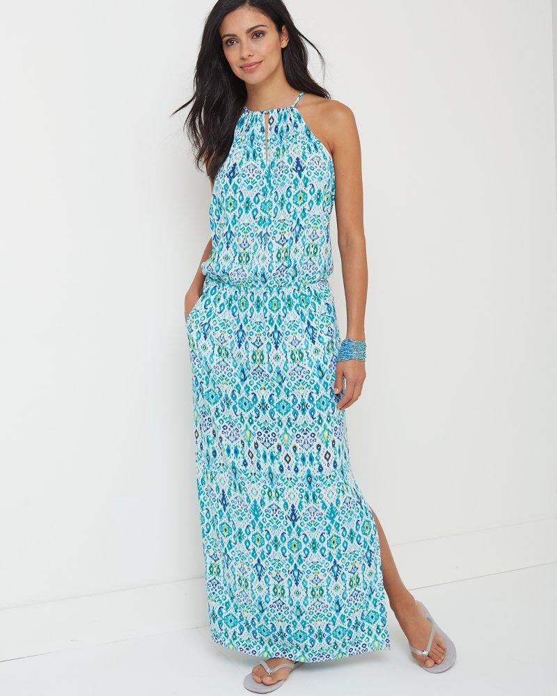 Ikat High-Neck Maxi Dress